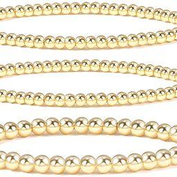14K Gold Plated Bead Ball Bracelet Stretchable Elastic Gold Beaded Bracelets for Women | Amazon (US)