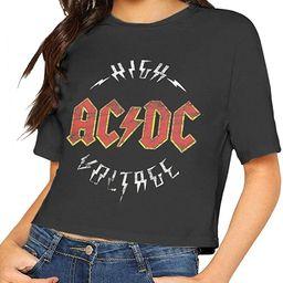 ACDC Shirt Crop Top Summer Dew Navel T Shirt Women's | Amazon (US)