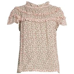 Rebecca Taylor Francesca Floral Tier-Ruffle Silk-Blend Blouse on SALE | Saks OFF 5TH | Saks Fifth Avenue OFF 5TH