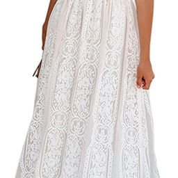 BLENCOT Womens Casual Floral Lace V Neck Short Sleeve Long Evening Dress Cocktail Party Maxi Wedd... | Amazon (US)