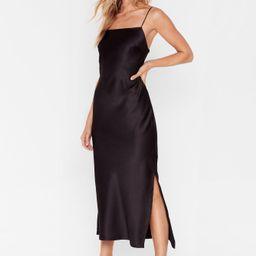 Satin Slit Midi Slip Dress | NastyGal