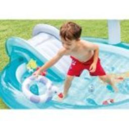 Intex 57165EP Gator 6.6ft x 5.6ft x 4in Outdoor Inflatable Kiddie Pool Water Play Center with Sli... | Target