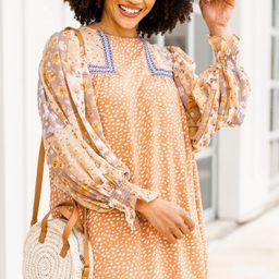 Make The Call Salmon Orange Mixed Print Shift Dress   The Mint Julep Boutique