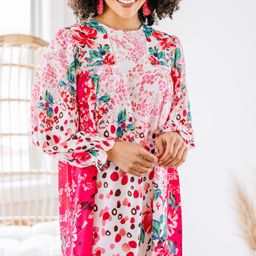 Feeling Compelled Fuchsia Pink Mixed Print Dress   The Mint Julep Boutique
