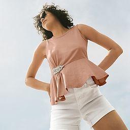 Mid Rise White Convertible Hem Jean Shorts   Express
