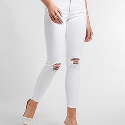 Mid Rise White Ripped Skinny Jeans   Express