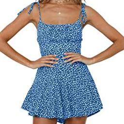 Jeanewpole1 Womens Floral Wide Leg Rompers Spaghetti Strap Tie Ruffle Short Jumpsuits | Amazon (US)