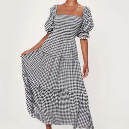 Gingham Puff Sleeve Tiered Maxi Dress   NastyGal