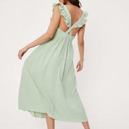 Cross Back Textured Linen Look Midi Dress   NastyGal