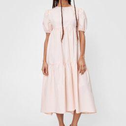 High Neck Puff Sleeve Tiered Midi Dress   NastyGal