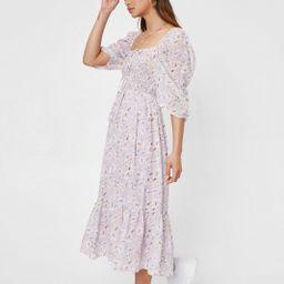 Petite Floral Print Shirred Midi Dress   NastyGal