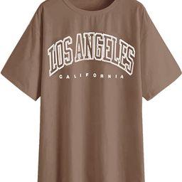 SAFRISIOR Women's Letter Graphic Print Oversize T Shirt Round Neck Drop Shoulder Longline Short S...   Amazon (US)