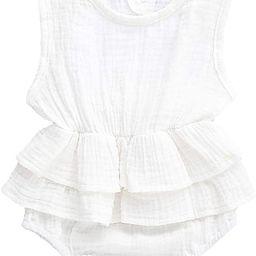 Bowanadacles Newborn Infant Baby Girl Romper Jumpsuit Cotton Linen Sleeveless Ruffled Bodysuit Su... | Amazon (US)