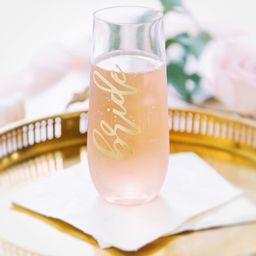 Bride Champagne Flute - Stemless Bride Champagne Flute - Engagement Gift - Bride GLASS flute - Gi... | Etsy (US)