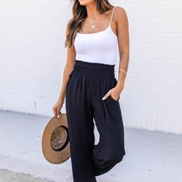 Fashionista Forever Black Smocked Knit Pants | The Pink Lily Boutique