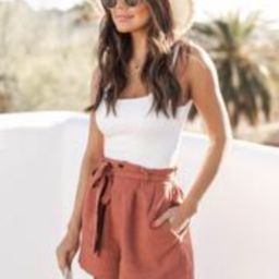 Bayside Stroll Paperbag Linen Terracotta Shorts | The Pink Lily Boutique
