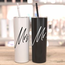 Mr. and Mrs. tumblers bride and groom gift idea wedding day gift bridal shower gift idea black an... | Etsy (US)