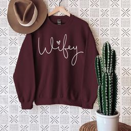 Wifey Sweatshirt, Bridal Shower Gift, Engagement Sweatshirt, Gift for Bride, Gift for Fiance, Wed... | Etsy (US)