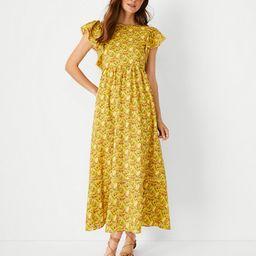 Palm Tree Ruffle Sleeve Flare Dress | Ann Taylor (US)