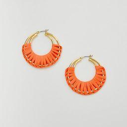 Raffia Wrapped Hoop Earrings | Ann Taylor (US)