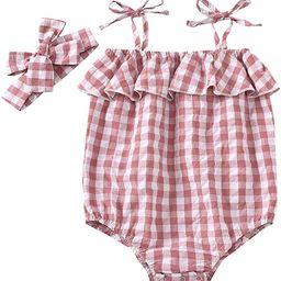 2PC Newborn Baby Girls Clothes Floral Jumpsuit Romper Bodysuit Playsuit Headband Outfits 0-24 Mon...   Amazon (US)
