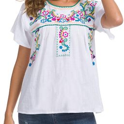 YZXDORWJ Women's Summer Casual Embroidered Blouse Short Sleeve Tops   Amazon (US)
