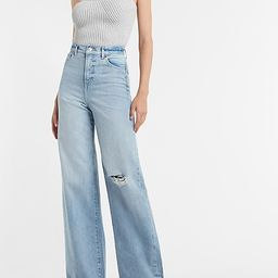 Super High Waisted Faded Ripped 90s Wide Leg Jeans   Express