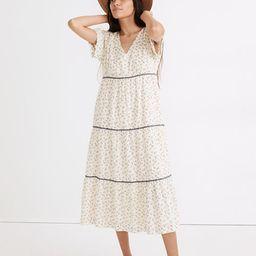 Rickrack Short-Sleeve Tiered Midi Dress in Spring Fling | Madewell