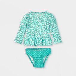 Baby Girls' 2pc Floral Rash Guard Set - Cat & Jack™ Green   Target