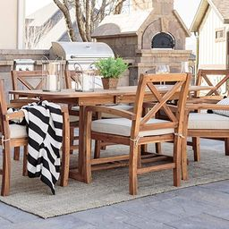 Walker Edison Maui Classic 7 Piece Acacia Wood Outdoor Dining Set with X Back Chairs, Set of 7, B...   Amazon (US)