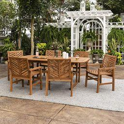 Walker Edison AZW7TXVINBR 6 Person Outdoor Wood Chevron Patio Furniture Dining Set Extendable Tab...   Amazon (US)
