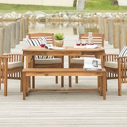 Walker Edison Maui Modern 6 Piece Solid Acacia Wood Slatted Outdoor Dining Set, Set of 6, Brown   Amazon (US)