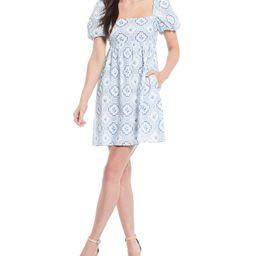 x Born on Fifth Camille Tile Print Puffed Sleeve Bow-Back Babydoll Dress   Dillards