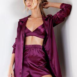 Oversized Satin 3 Pc Pajama Shorts Set | NastyGal
