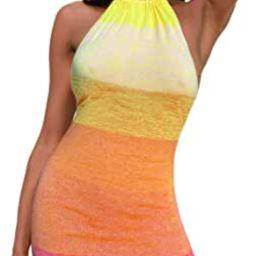 Women's Mini Dress Knitted Backless Halter Sleeveless Shinny Club Party Holiday Beach Bodycon D... | Amazon (US)
