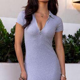 Secrets Heather Grey Ribbed Zipper Dress | Shop Priceless