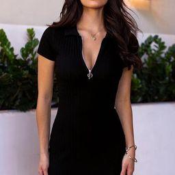 Secrets Black Ribbed Zipper Dress | Shop Priceless