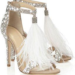 azmodo Women's Wedding Dress Party & Evening Stiletto Heeled Sandals Rhinestones Tassel Black   Amazon (US)