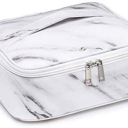 Travel Makeup Bag Large Cosmetic Bag Make up Case Organizer for Women and Girls (Marble) | Amazon (US)