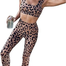Sidefeel Women Leopard Print Workout Set Outfit High Waist Bike Shorts with Yoga Sport Bra Gym Cl...   Amazon (US)