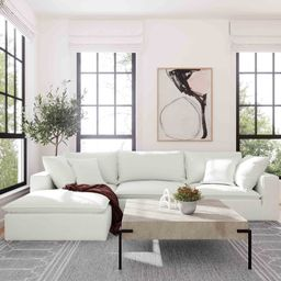 """Grace-Louise 119.7"""" Wide Reversible Modular Sofa & Chaise with Ottoman 