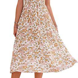 Amegoya Women's Summer Button Short Sleeve V Neck Floral Print Casual Bohemian Midi Dresses | Amazon (US)