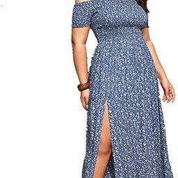 Floerns Women's Boho Floral Print Off Shoulder Split Long A Line Dress | Amazon (US)