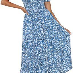 ZESICA Women's Summer Boho Floral Print Square Neck Ruffle Swing Beach Long Maxi Dress | Amazon (US)