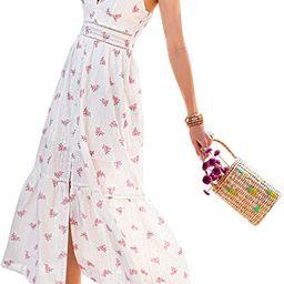 Narspeer Women's Beach Flowy Embroidery Long Dress Summer Spaghetti Straps Floral Maxi Dress | Amazon (US)