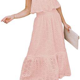 BerryGo 2021 Women's Boho Eyelet Beach Dress Embroidery Off Shoulder Ruffle Maxi Dress with Bow K... | Amazon (US)