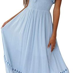 SAUKOLE Women's Summer Sleeveless Strapless Ruffle Off The Shoulder Swing Cocktail Party Dress | Amazon (US)
