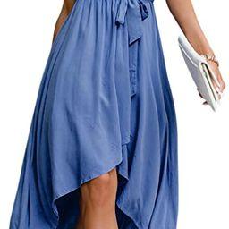 Miessial Women's Striped Linen Long Dress Elegant Ruffle Cap Sleeves Midi Dress | Amazon (US)