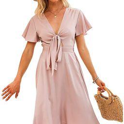 Exlura Women's Summer Dresses Tie Front V-Neck Waisted Short Ruffle Sleeve Flowy Midi Dress | Amazon (US)