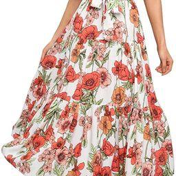 Exlura Women's Summer Dresses Bohemian Floral Printed V-Neck Short Sleeve Midi Dress with Belt | Amazon (US)